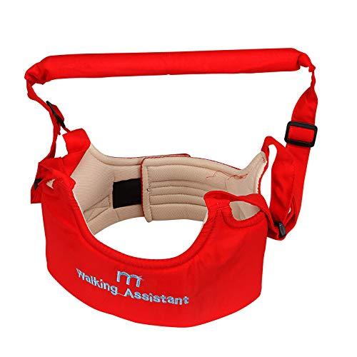 Adjustable Handheld Baby Walker Helper Toddler Safe Walking Padded Belt Harness (Red)