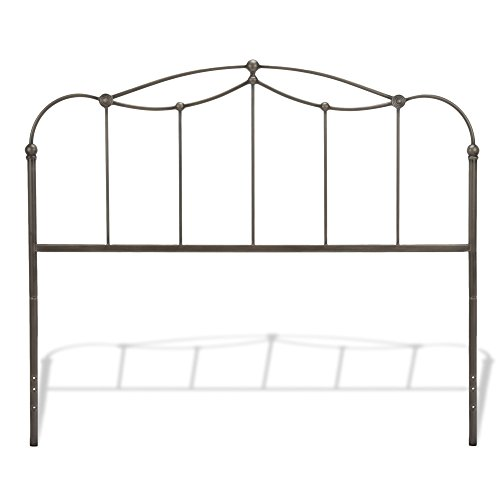 Metal Walnut Headboard (Affinity Metal Headboard Panel with Straight Spindles and Detailed Castings, Blackened Taupe Finish, Queen)