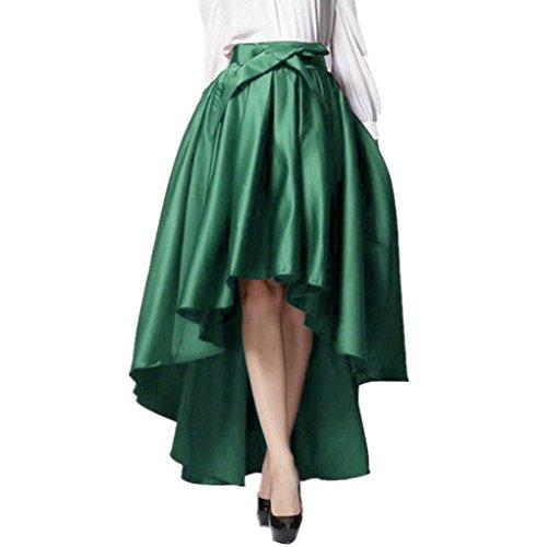 Fully Lined Taffeta Skirt (New Women Lady High Waist Satin Asymmetric Hi-lo Dovetail Bandage Long Skirt)