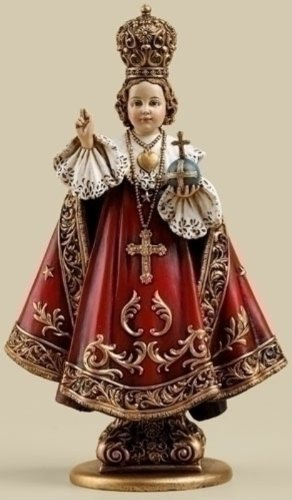 Roman Infant Of Prague With Cross Royal Red Robes 2 x 6 Inch Resin Stone Tabletop Figurine