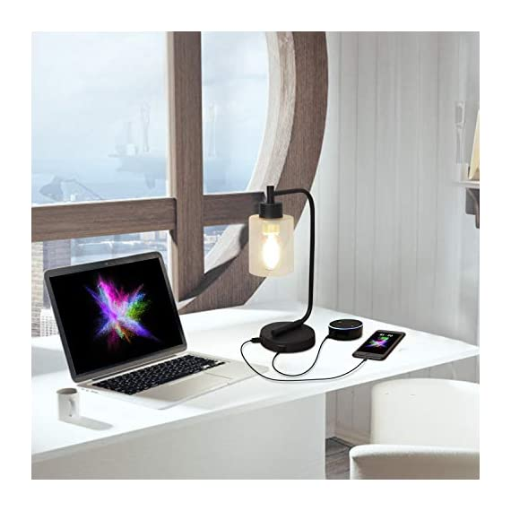 Innqoo Touch Control Table Lamp, 3 Way Dimmable Industrial Desk Lamp with USB Charging Ports, Modern Nightstand Lamp, Metal Bedside Lamp for Dorm, Bedroom, Living Room (ST64 Vintage Bulb Included) - 🎁【3 Way Dimmable Touch Control Design】- Touch bedside lamp with 4 settings (Low, Medium, High, Off), The Low setting is perfect for nightstand mode, the Medium setting suitable for daily use and High setting is very bright for reading mode. This touch-sensitive lamp can be easily controlled over by people of all ages.(We suggest you use the vintage T45 Bulb, it is the best match to our touch table lamp) 🎁【Dual Usb Charging Ports】- The Industrial desk lamp is convenient for phones, power banks or other devices charging with dual USB charging ports, reducing the use of socket plug as well greatly promote the use of space.(It is a perfect gift for your friends and family on Black Friday, Cyber Monday) 🎁【Minimalist Industry Design】- The bedside table lamp features a heavy-duty tubular metal body and base, is designed with minimalist industry style. Easy to attract guest's attention and perfect for bedroom, living room or coffee room or any places. - lamps, bedroom-decor, bedroom - 414b39p5GPL. SS570  -