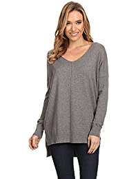 Womens Oversized V-Neck Pullover Sweater Top W/ Slight Hi-Low