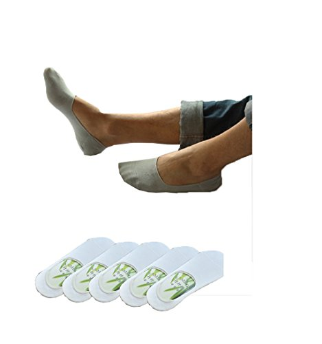 Men's No Show Socks, Bamboo Cotton Pack-5 Solid Invisible Anti - odor Basics Crew Work Ankle Boat Liner Socks (White) ()