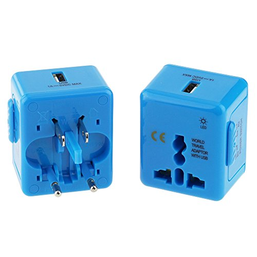 Wonplug Safety and Ultra Small Size Universal World-Wide Travel Adapter, with 1000mA USB Charging Port, All-in-one AC Power