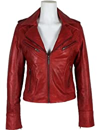 UNICORN Womens Red Waxed Real Leather Jacket #Z3