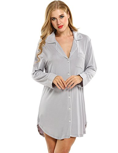 Button Front Nightshirt - Avidlove Womens Sleep Shirt Luxury Sleepwear Long Sleeve Button-Front Nightshirts Gray Medium