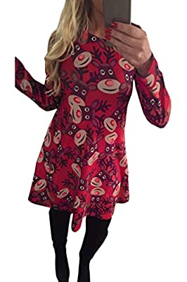 LaSuiveur Women's Christmas Santa Claus Print Pullover Flared A Line Dress
