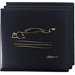 Andalus Auto Car Truck Motorcycle Registration & Insurance Document Holder Wallet | Black Vinyl Case | Strong Velcro Closure | Keeps Glove Compartment Organized (3 Pack)