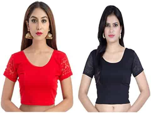 3b50a4854a027 Fressia Fabrics Women s Stretchable Readymade Saree Blouse Crop Top Choli  Pack of 2