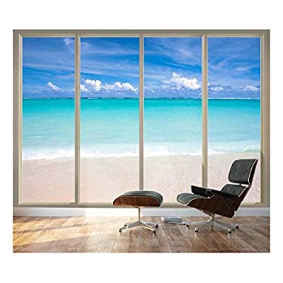 Wall26 - Large Wall Mural - Tropical Beach Seen Through Sliding Glass Doors | 3D Visual Effect Self-Adhesive Vinyl Wallpaper/Removable Modern Decorating Wall Art - 100