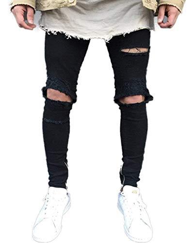 La Vaqueros De Los Delgados Pantalones Casuales Vendimia Vaqueros Vaqueros Destruidos Negro Joven Pantalones del Hombres del Dril Pantalones De Largos Algodón Ajustados Negro Agujero De Pantalones Uxfn7ZYY