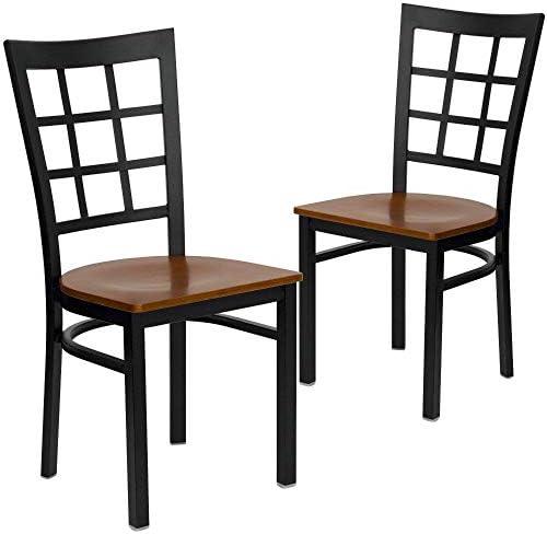Flash Furniture 2 Pk. HERCULES Series Black Window Back Metal Restaurant Chair