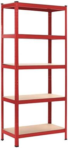 N/O Viel Spaß beim Einkaufen mit Lagerregal Rot 80 x 40 x 180 cm Stahl und MDF