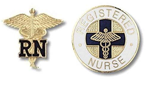 EMI Registered Nurse Rn Caduceus and Rn Round Emblem 2 Item Pin Set