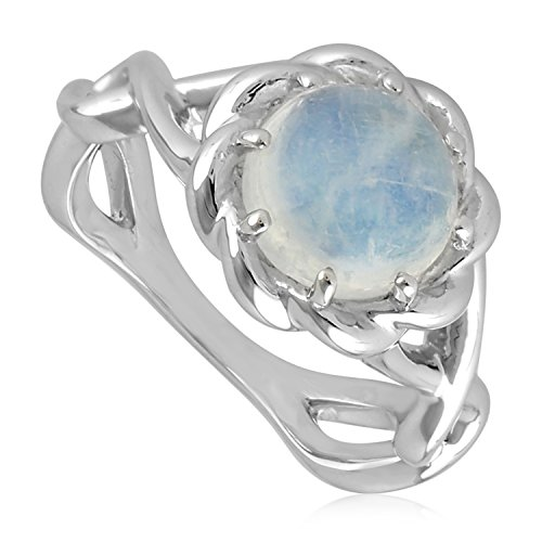 Blue Moonstone Ring (Natural Moonstone Sterling Silver Knotted Style Rope Edge Solitaire Ring, Size 5)