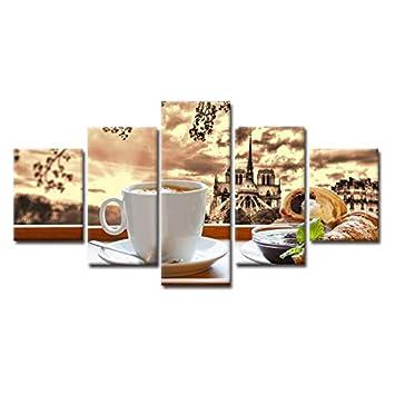 Amazon.com: KLKLDD 5 Pieces Coffee Croissant Food Paintings ...