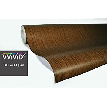 VViViD Teak Wood Grain Faux Finish Textured Vinyl Wrap Roll Sheet Film DIY No Mess Easy to Install Air-Release Adhesive (20ft x 48 Inch)