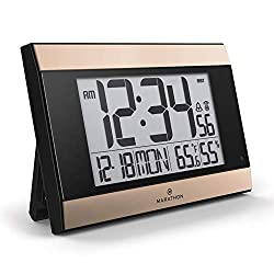 Marathon New Launch CL030052BK-GD Atomic Digital Wall Clock with Auto-Night Light, Temperature & Humidity - Batteries Included. (Black Panel/Gold Trim)