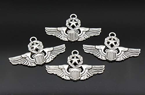 (3 Pcs Air Force Charms Pilot Wings Charms Antique Silver Tone 28x47mm - YD0129)