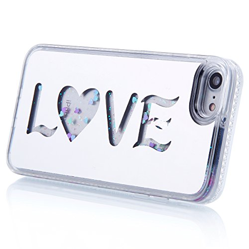 Funda Case iPhone 7 silicona,Ukayfe Carcasa Espejo iPhone 7 Mirror Case,Ultra fina de Tpu funda de silicona espejo brillante Cover Case, brillantes cristal Bling Gliter Espejo �?Carcasa de Protección  Plata 5#