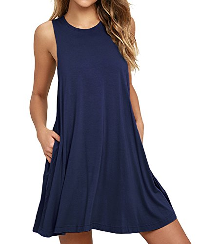 HiMONE Women's Sleeveless Pockets Casual Swing T-Shirt Dresses Navy Blue Small