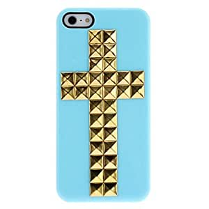 SHOUJIKE Special Design Golden Rivets Cross Pattern Hard Case with Nail Adhesive for iPhone 5/5S (Assorted Colors) , Pink