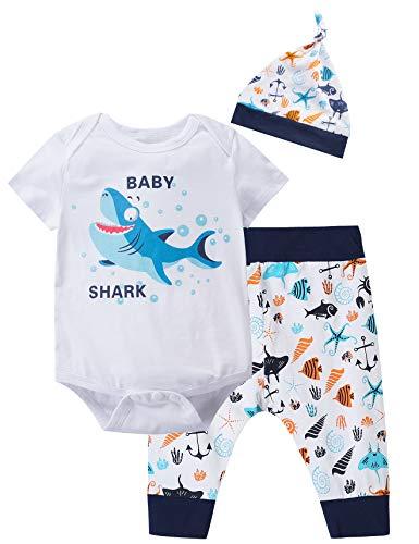 Cute Children Outfits - 3PCS Baby Boys' Cute Baby Shark