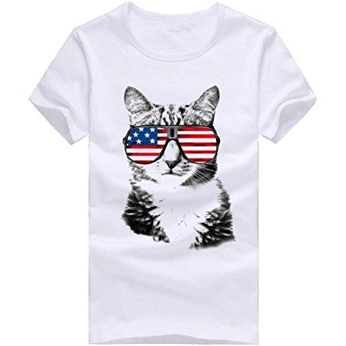 Manche T Blouse Xjp Homme shirt Décontractée Avec Blanc De Été Pour Lunettes Soleil Vacances Imprimé Chat Modèle Courte 7AAzxqdwF