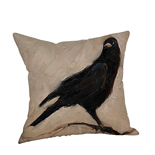 HGWXX7 Happy Halloween Pillow Covers Crow Print Linen Sofa Cushion Case Home Decor for Sofa(E) -