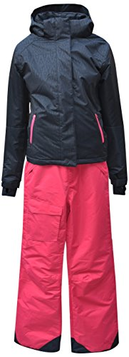 Pulse Big Girls Youth 2 Piece Snowsuit Ski Jacket Snow Pants Embossed (Medium (10/12), Black/Juicy) by Pulse