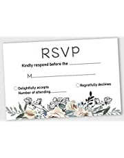 Inkdotpot 50 Blank RSVP Cards with White Envelopes-Floral Style Response Card-RSVP for Wedding-Rehearsal Dinner-Baby Shower-Bridal Shower-Engagement Party Invitations