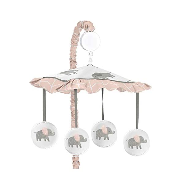 Sweet Jojo Designs Blush Pink, Grey and White Musical Baby Crib Mobile for Watercolor Elephant Safari Collection
