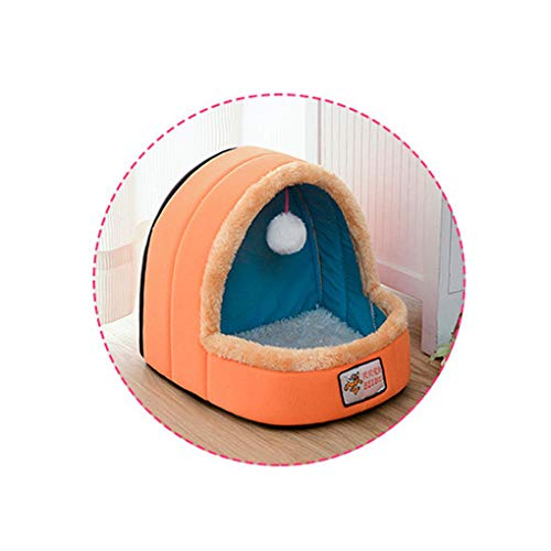 Pet Dog Cat Bed Foldable Puppy House with Toy Ball Warm Soft Pet Cushion Dog Kennel Cat Castle ()