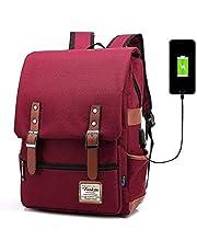Professional Laptop Backpack with USB Charging Port, FEWOFJ Fashion Travel Bag  Vintage Business Work Computer 78543636c0