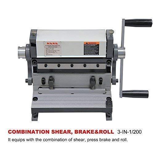 KAKA 3-In-1/8 Sheet Metal Brake, 8-Inch Shear Brake Roll Combinations, Solid Construction, Sheet Metal Brakes, Shears and Slip Roll Machine (Shear Bench Metal Top Sheet)