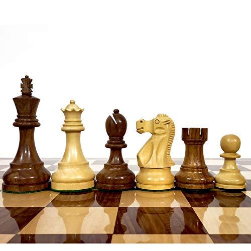 RoyalChessMall – Juego de piezas de ajedrez de madera Reykjavik de 9,7 cm – Madera de Sheesham con peso – 4 Queens