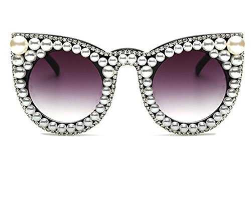 WIIPU Women's Oversized Cat Eye Pearl Rhinestone UV protection Sunglasses(S278) (Pearl rhinestone, - Pearl Eye Cat