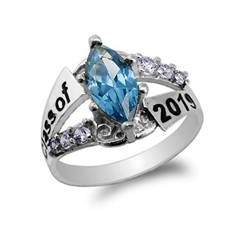 925 Sterling Silver Graduation Class of 2019 School Ring with 1.25ct Blue Marquise CZ Size 4