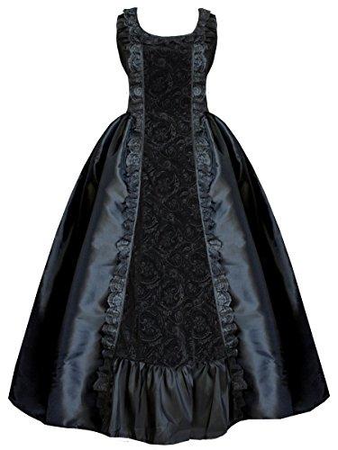 Victorian Black Gown s Gothic Romantic Steampunk Women Cykxtees Civil War Black P4Ua4