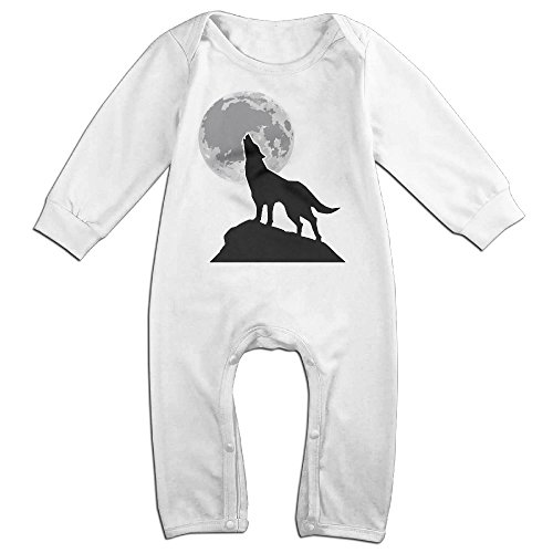 [HOHOE NewBorn Boy's & Girl's Wolf Under Moon Long Sleeve Romper Bodysuit Outfits White 12 Months] (Austin Powers Suit For Sale)