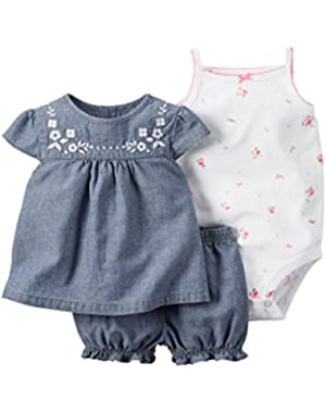 3-Piece Bodysuit & Diaper Cover Set