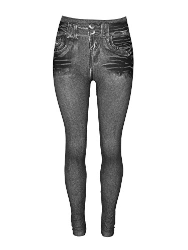 Crush Womens High Waist Skinny Seamless Denim Print Leggings Pants (S/M (90-120 lbs/Size 2-4), Black (528))