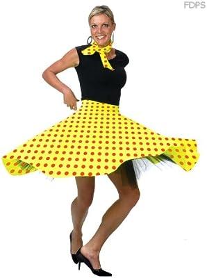Desconocido Disfraz Falda Rock N Roll en Amarillo Euro 38-44 ...
