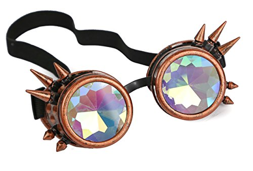 Kaleidoscopic Spike Steampunk Goggles Sunglasses Cosplay Aviator Cyber Gothic (COPPER)