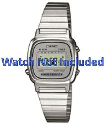 b279f5fbfbea Casio watch strap LA670WEA-7EF   LA670WEA-7 Steel Silver 13mm (Only watch  strap - WATCH NOT INCLUDED!)  Amazon.co.uk  Watches