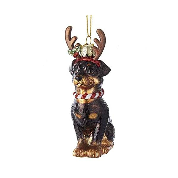 Noble Gems Rottweiler with Antlers Glass Ornament 1