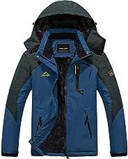 MAGCOMSEN Men's Waterproof Fleece Lined Winter Coats Parka Mountain Windproof Warm Snow Ski Jacket With Mu