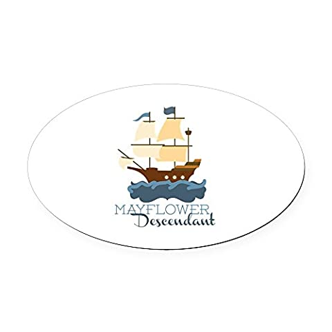 CafePress - Mayflower Descendant Oval Car Magnet - Oval Car Magnet, Euro Oval Magnetic Bumper - Mayflower Wood