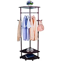 Baoyouni MDF Coat Racks for Corner Storage,with Bags Hangers and Clothes Bar on Wheels