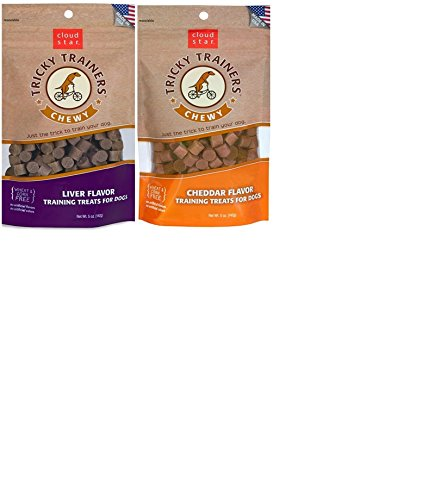 Cloud Star Chewy Tricky Trainers Flavor Variety Dog Treats Bundle: (1) Cloud Star Chewy Tricky Trainers Cheddar Flavor, (1) Cloud Star Chewy Tricky Trainers Liver Flavor, 5oz Bags Review